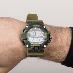 Paracord Örgülü Asker Yeşili Analog Dijital Spor Saat - Thumbnail