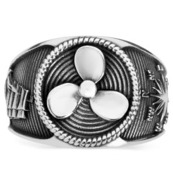 Anı Yüzük - Pervane Motifli Gümüş Denizci Yüzüğü