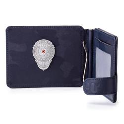 Anı Yüzük - Gümüş Renk Mini Polis Rozetli Para Tokalı Kartlık Cüzdan Kamuflaj Lacivert