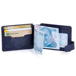 Gümüş Renk Mini Polis Rozetli Çift Taraflı Para Tokalı Kartlık Cüzdan Kamuflaj Lacivert - Thumbnail