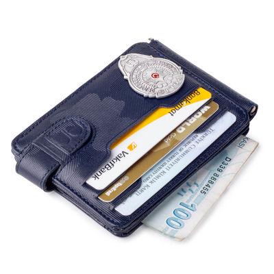 Gümüş Renk Mini Polis Rozetli Çift Taraflı Para Tokalı Kartlık Cüzdan Kamuflaj Lacivert