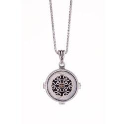 Pusula Detaylı Estetik Dalgalı Kaplangözü Zeminli Gümüş Yön Kolye - Thumbnail