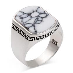 Sade Model Beyaz Firuze Taşlı Gümüş Erkek Yüzük - Thumbnail
