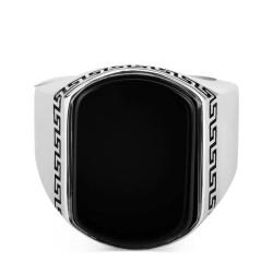 Sade Model Siyah Oniks Taşlı Gümüş Erkek Yüzük - Thumbnail