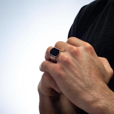 Sade Model Siyah Oniks Taşlı Gümüş Erkek Yüzük