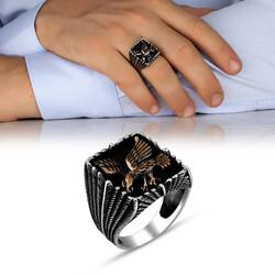Şahin Motifli Taşsız 925 Ayar Gümüş Erkek Yüzük - Thumbnail