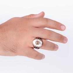 Sancak ve Bayraklı Beyaz Sedef Taşlı Gümüş Osmanlı Yüzüğü - Thumbnail