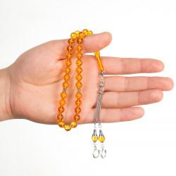 Sarı Taneli Sığırcık Kesim Sıkma Kehribar Tesbih - Thumbnail