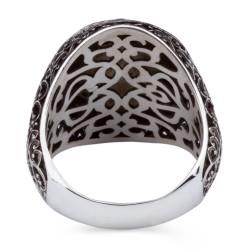 Sedef Üzerine Ay-Yıldızlı 925 Ayar Gümüş Yüzük - Thumbnail