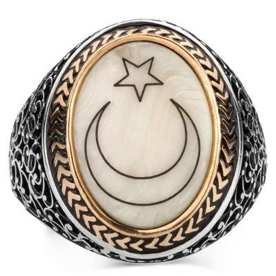Sedef Üzerine Ay-Yıldızlı 925 Ayar Gümüş Yüzük