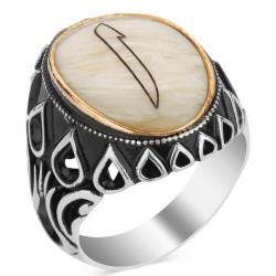 Anı Yüzük - Sedef Üzerine Elif Motifli 925 Ayar Gümüş Yüzük (oval)