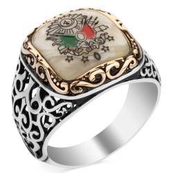 Anı Yüzük - Sedef Üzerine Osmanlı Motifli 925 Ayar Gümüş Yüzük