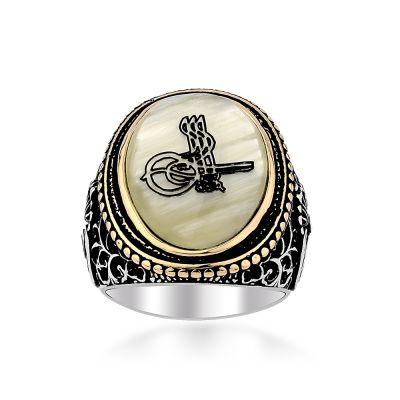 Sedef Üzerine Tuğralı 925 Ayar Gümüş Yüzük