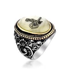 Sedef Üzerine Tuğralı 925 Ayar Gümüş Yüzük - Thumbnail