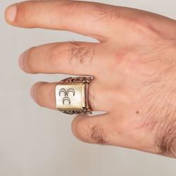 Sedef Üzerine Üç Hilalli Motifli 925 Ayar Gümüş Yüzük - Thumbnail