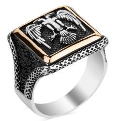 Selçuklu Kartalı Kare Tasarım Erkek Gümüş Yüzüğü - Thumbnail