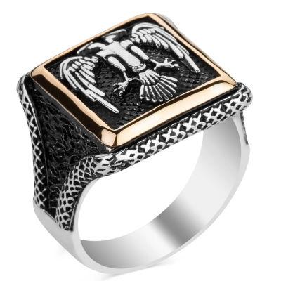 Selçuklu Kartalı Kare Tasarım Erkek Gümüş Yüzüğü