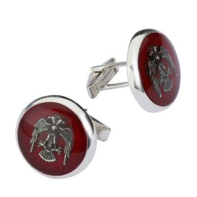 Selçuklu Kartalı Motifli Gümüş Kol Düğmesi