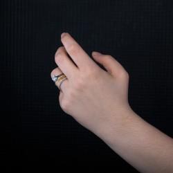 Seni Seviyorum Yazılı 2 Sıra Tek Taş Bayan Yüzük - Thumbnail