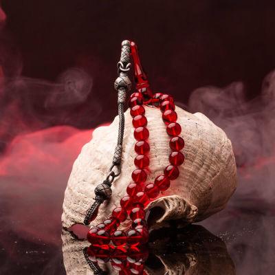 Sığırcık Kesim Kazaz Püsküllü Kırmızı Sıkma Kehribar Tesbih