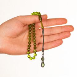 Sığırcık Kesim Kazazlı Yeşil Sıkma Kehribar Tesbih - Thumbnail
