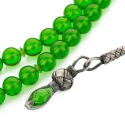 Sıkma Kehribar Yeşil Kazazlı Küre Kesim Tesbih - Thumbnail