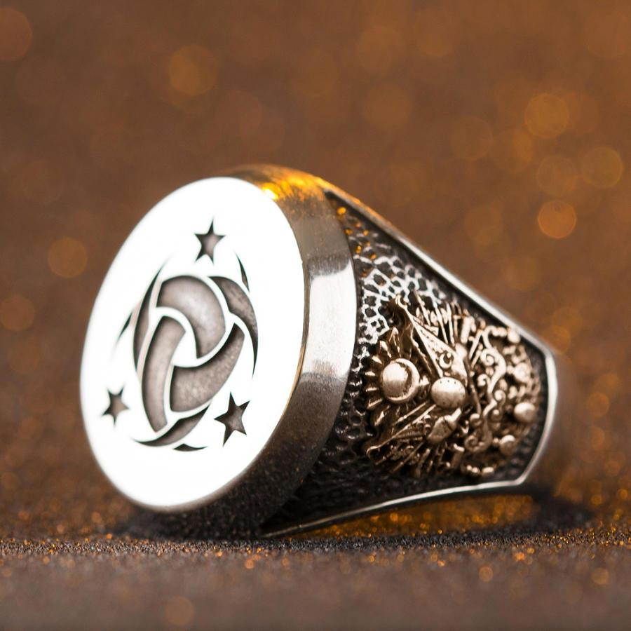Silver Teskilati Mahsusa Ring with Ottoman Crest - Crescent Star