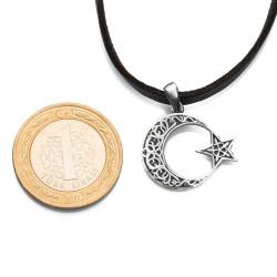 Simetrik Desenli Ay Yıldız Gümüş Erkek Kolye - Thumbnail
