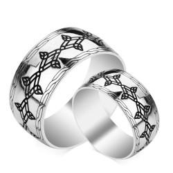 Anı Yüzük - Simetrik Desenli Gümüş Alyans Çifti