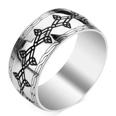 Simetrik Desenli Gümüş Alyans Çifti