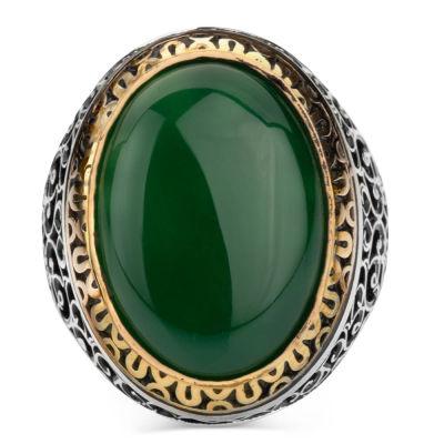 Simetrik Desenli Büyük Yeşil Akik Taşlı Gümüş Erkek Yüzük