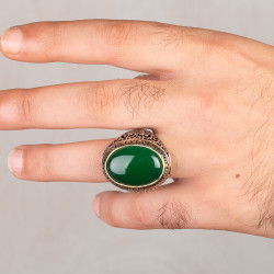 Simetrik Desenli Büyük Yeşil Akik Taşlı Gümüş Erkek Yüzük - Thumbnail