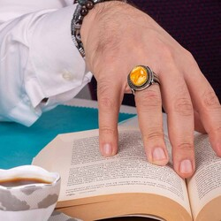 Simetrik Motifli Sarı Zirkon Taşlı Gümüş Erkek Yüzük - Thumbnail
