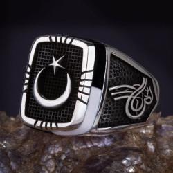 Siyah-Beyaz İşlemeli Ay Yıldızlı Gümüş Erkek Yüzük - Thumbnail
