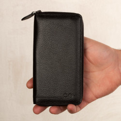Cep Telefonu Bölmeli Fermuarlı Erkek Deri Kartlık Cüzdan Siyah - Thumbnail