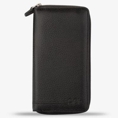 Siyah Cep Telefonu Bölmeli Fermuarlı Erkek Deri Kartlık Cüzdan