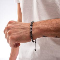 Siyah Hematit ve Zirkon Taşlı Ayarlanabilir Erkek Bileklik - Thumbnail