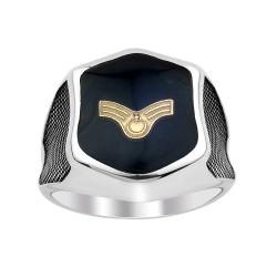 Lacivert Mine Üzerine Uzman Amblemli Gümüş Yüzük - Thumbnail