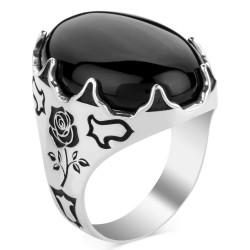 Anı Yüzük - Siyah Oniks Taşlı Lale Motifli Gümüş Erkek Yüzük