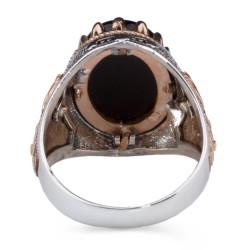 Siyah Oniks Taşlı Simetrik Desenli Gümüş Erkek Yüzük - Thumbnail