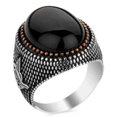 Siyah Oniks Taşlı Tuğra Motifli Gümüş Erkek Yüzüğü
