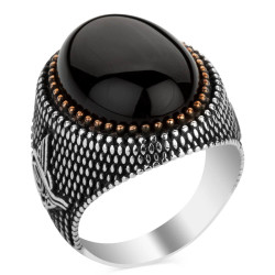 Siyah Oniks Taşlı Tuğra Motifli Gümüş Erkek Yüzüğü - Thumbnail