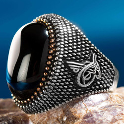 Anı Yüzük - Siyah Oniks Taşlı Tuğra Motifli Gümüş Erkek Yüzüğü