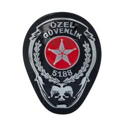 Siyah Renk Deri Özel Güvenlik Kemer Rozeti - Thumbnail