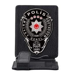 Anı Yüzük - Siyah Renk Polis Rozetli Para Tokalı Kartlık Cüzdan Siyah