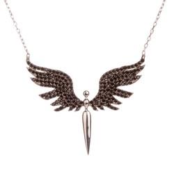 Siyah Taşlı Mikail Meleği Gümüş Bayan Kolye - Thumbnail