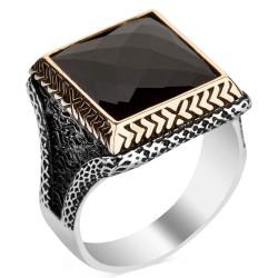 Anı Yüzük - Siyah Zirkon Taşlı Kare Tasarım Erkek Gümüş Yüzüğü