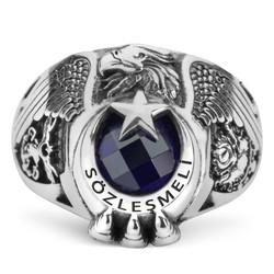 Sözleşmeli Profesyonel Asker Kartal Başlı Pençeli Yüzük - Thumbnail