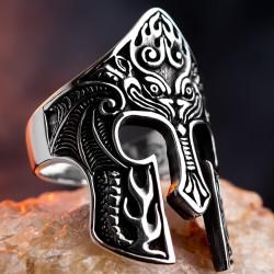 Spartalı Miğferi Gümüş Yüzük - Thumbnail