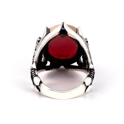 Kılıç Detaylı Kan Kırmızı Zirkon Taşlı Gümüş Yüzük
